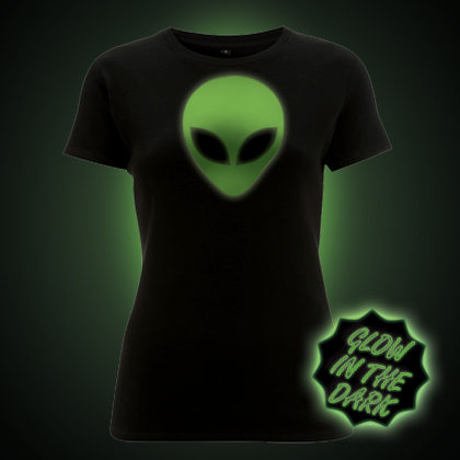 Glow in the Dark Alien Head Women's Fit T-shirt