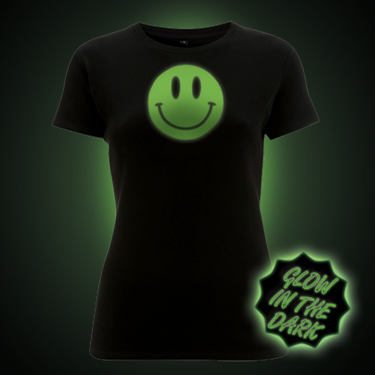 Glow in the Dark Smiley Face Women's Fit T-Shirt