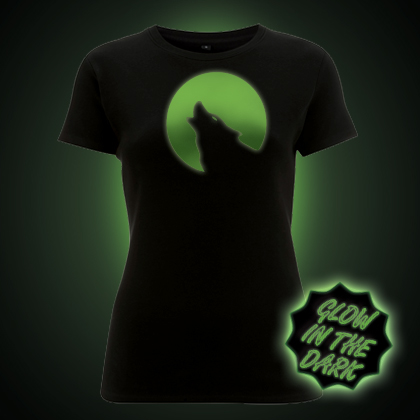 Glow in the Dark Howling Wolf in the Moonlight Women's T-Shirt