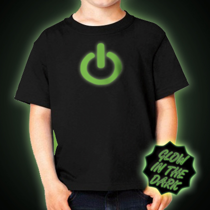 Glow in the dark Children's Power Button T-Shirt